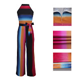 Rose Red Colorful Striped Print Wide Leg Jumpsuits SMR9261