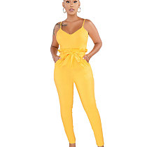Yellow Strappy Plain Color Pencil Pants Slim Jumpsuits SMR9271