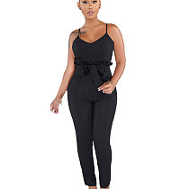 Black Strappy Plain Color Pencil Pants Slim Jumpsuits SMR9271