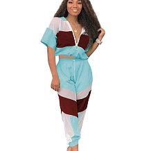 Azul verão malha cor bloco Zipper Sports Outfits OEP6002