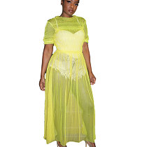 Yellow Casual Mesh See Throuth Solid Long Dress QZ4064