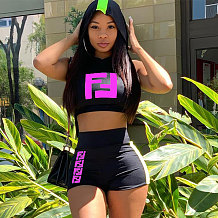 Black Sleeveless Crop Tops Letter Print Shorts Sets MA6169