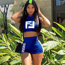 Blue Sleeveless Crop Tops Letter Print Shorts Sets MA6169