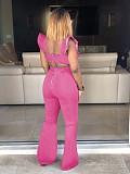 Yellow Sleeveless Ruffle Tops Flare Pants Jeans Jumpsuits H1138