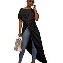Black Overlay Pure Color Long Dress Casual Wear GL6096