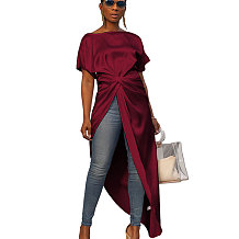 Wine Red Overlay Pure Color Long Dress Casual Wear GL6096