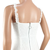 Casual off-shoulder witte kanten bodycon mini-jurk GL6132