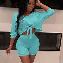 Sky Blue Solid Wrap Crop Tops Elastic Shorts Outfits QQ5102