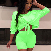 Green Solid Wrap Crop Tops Elastic Shorts Outfits QQ5102