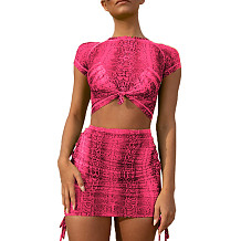 Pink Print Crop Tops Mini Skirts Two Pieces Sets MY9369