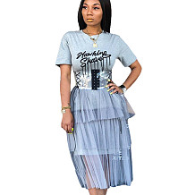 Grey Letter Print Casual T Shirts Tops Mesh Dress SN3578