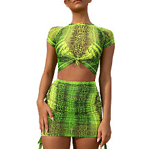 Green Print Crop Tops Mini Skirts Two Pieces Sets MY9369
