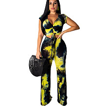 Yellow Print Wrap Tops Wide Leg Pants Two Pieces Sets MY9354