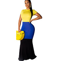 Yellow Casual Color Block Long Maxi Dress SY8341