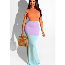 Orange Casual Color Block Long Maxi Dress SY8341