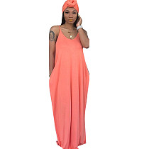 Pink Strapy Solid Long Maxi Loose Style Dress TRS949