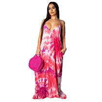 Pink Print Strappy Loose Long Maxi Summer Dress TRS907
