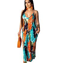 Orange Print Strappy Loose Long Maxi Summer Dress TRS907