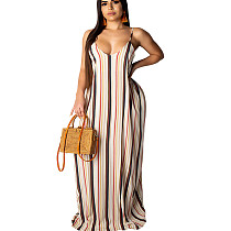 Stripped Print Strappy Loose Long Maxi Summer Dress TRS907