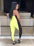 Yellow Halter Neck Color Block Bodycon Jumpsuits MA6197