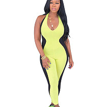 Green Halter Neck Color Block Bodycon Jumpsuits MA6197