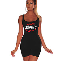 Black Strappy Letter Print Bodycon Short Jumpsuits F8213