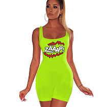 Green Strappy Letter Print Bodycon Short Jumpsuits F8213
