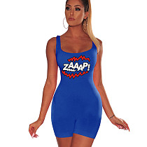 Blue Strappy Letter Print Bodycon Short Jumpsuits F8213