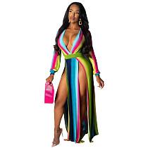 Gradient Color High Split Deep V Neck Long Dress X9165-1
