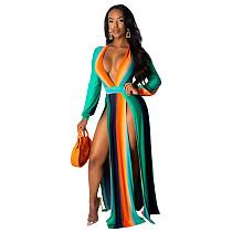 Sexy Multicolor High Waist Long Sleeves Split Dress X9165-2