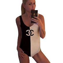 Black And White Color Block One Piece Swimsuits K016
