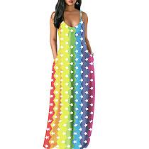 Vertical Star Print Strapy Maxi Beach Long Dress MA6202