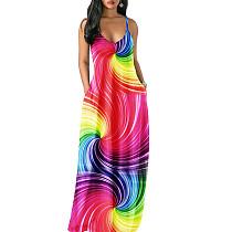 Colorful Print Strapy Maxi Beach Long Dress MA6202
