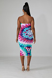Sexy Strapless Tie Dyeing Print Ankle Dress ED8106