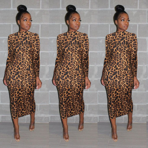 Women Leopard Print Long Sleeves Bodycon Ankle Dress QQM3837