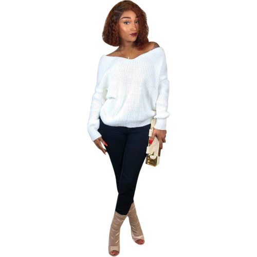 White Fashion Casual Winter Deep V Neck Short Sweaters M840