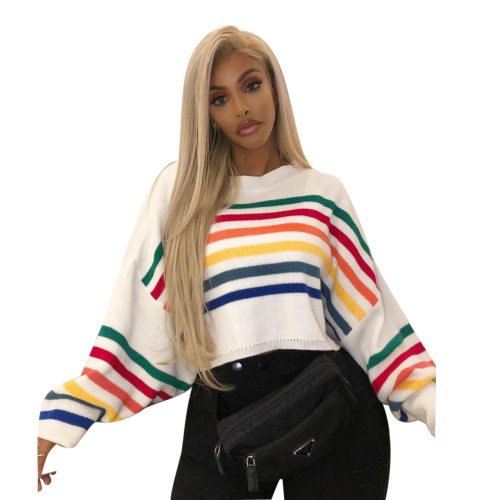 Colorful Striped Long Sleeves Leissure Sweaters M870
