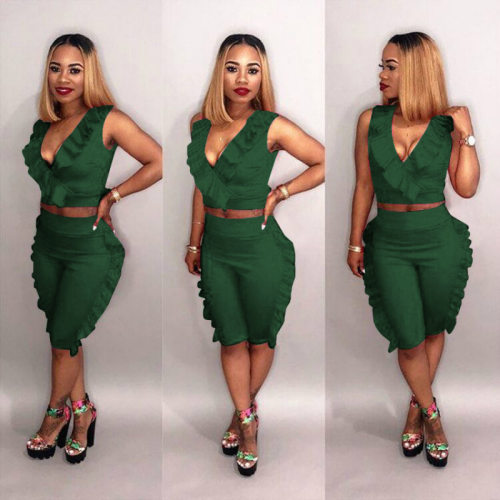 Green Sleeveless Tops Ruffle Midi Shorts Two Pieces Sets E8263