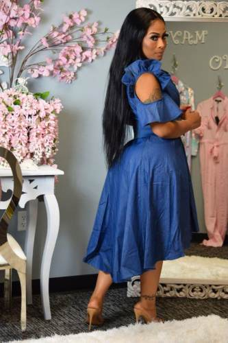 Irregular Casual Women Denim Ruffle Midi Dress YX9137