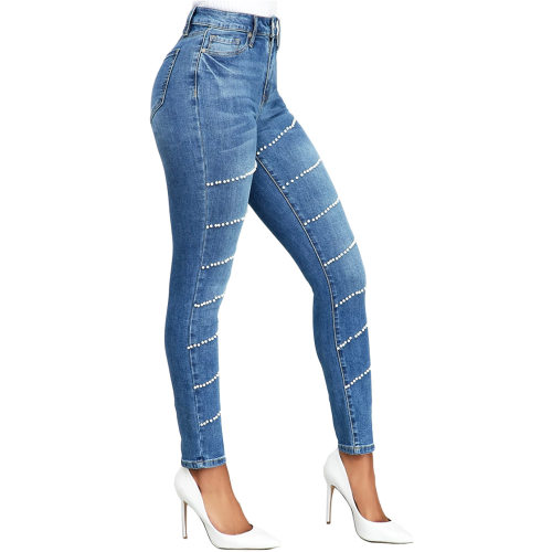Fashion Women Beading Skinny Blue Jeans MD230