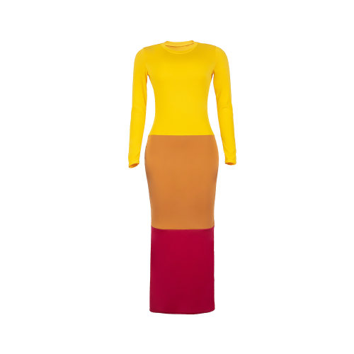 Yellow Cheap Long Sleeves Color Block Bodycon Ankle Length Dress MD247