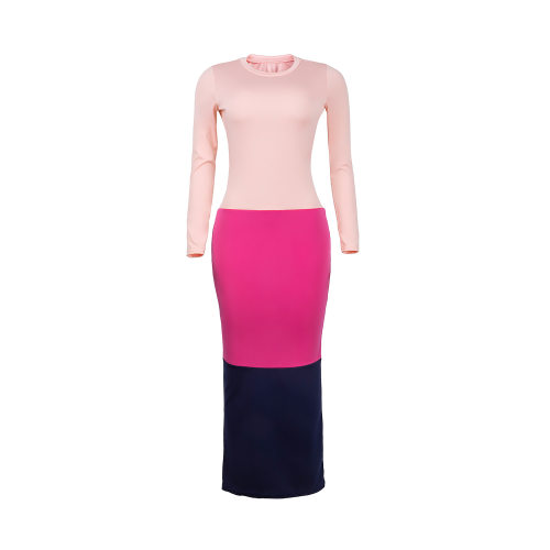 Pink Cheap Long Sleeves Color Block Bodycon Ankle Length Dress MD247