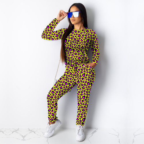 Yellow Leopard Printing Autumn Women 2 Pieces Leisure Outfits MA6238