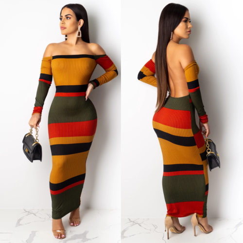 Color Block Off Shoulder Backless Knitting Long Dress QZ4078