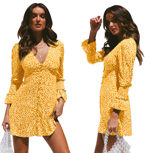 Yellow Ladies Trendy Polka Dot Long Sleeves Midi Dress QZ8014