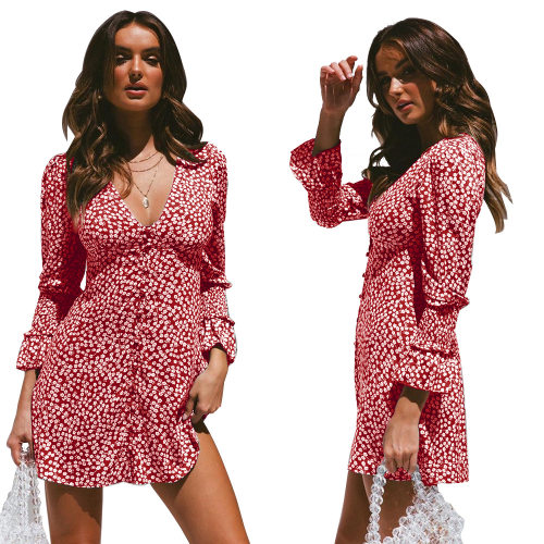 Red Ladies Trendy Polka Dot Long Sleeves Midi Dress QZ8014