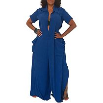 Dark Blue Lady Wide Leg Loose Orversize Jumpauits SMR9399