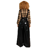 Black High Waist Strappy Leather Pu Wide Leg Pants BS1131