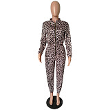 Purple Print Zipper Casual Sports Outfits Jumpsuits A-YM-8474
