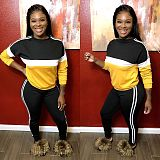Yellow Color Block Long Sleeves T Shirts Sports Pants Outfits MTY6216